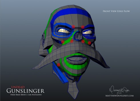 Undead Gunslinger Head Edge Flow - Front View