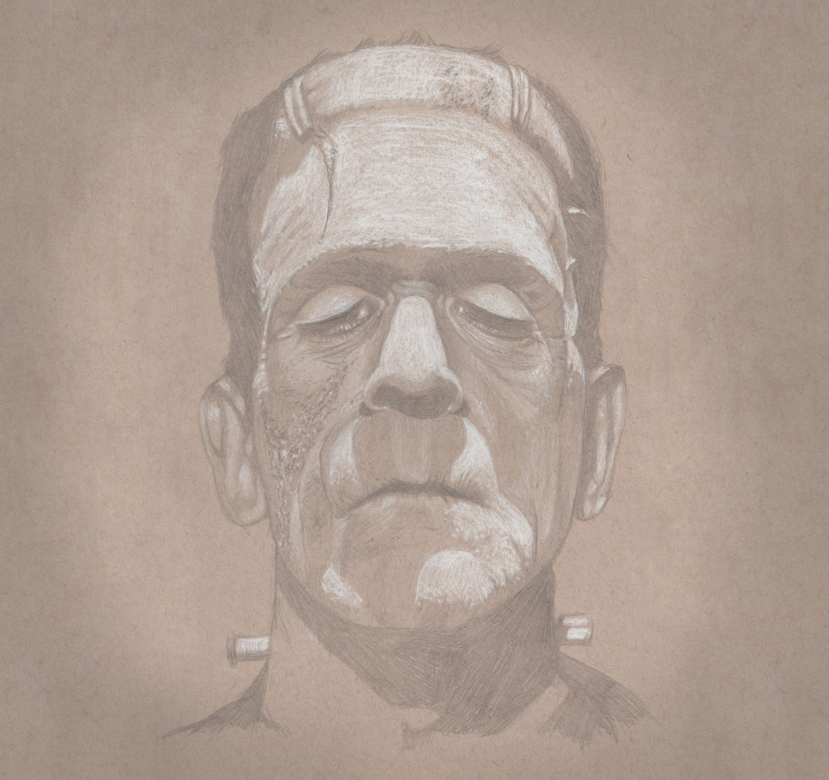 Frankenstein [3H pencil & white charcoal on toned paper]